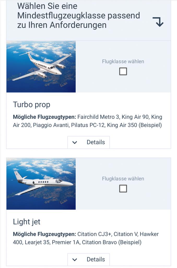 JetApp Buchung Privatjets